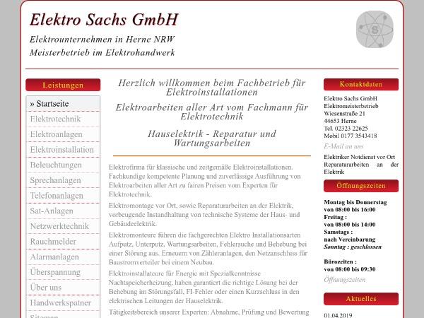 Elektriker Elektro Sachs GmbH D-44653 Herne in NRW √